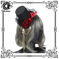 Woman Gothic Lolita Cute Simulation Rose Cross High Top Hat Hairpin Headband Hair Clip