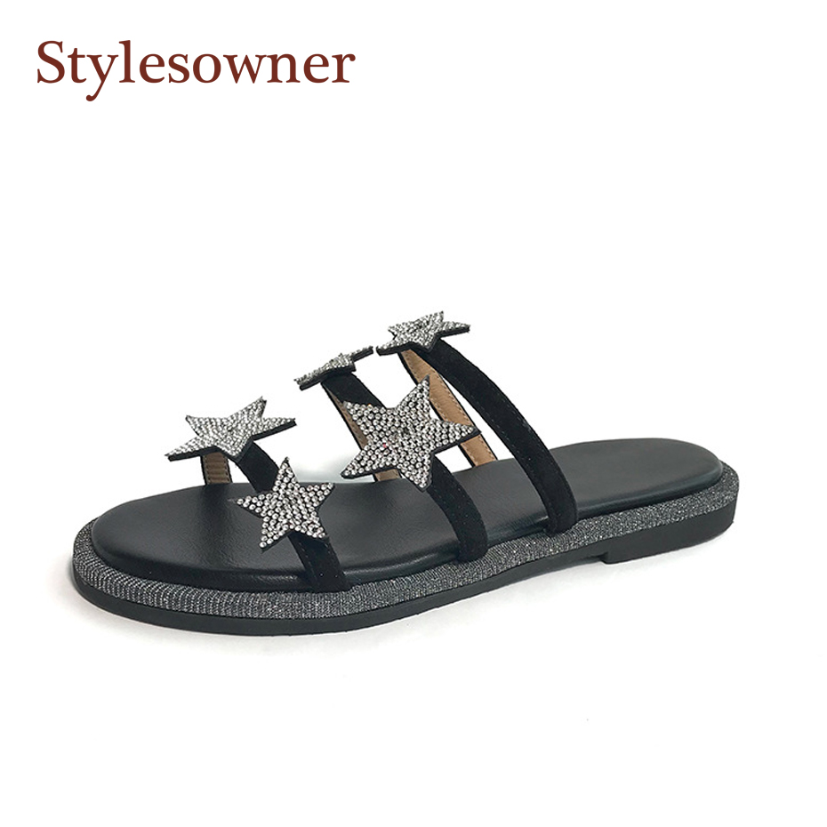 Stylesowner Crystal Star Girl Open Toe Slides Luxurious Open Toe Flat Vogue Shoe All-match Vogue Black Silver Sandalias Feminine Slippers, Low cost Slippers, Stylesowner Crystal Star Girl Open Toe...