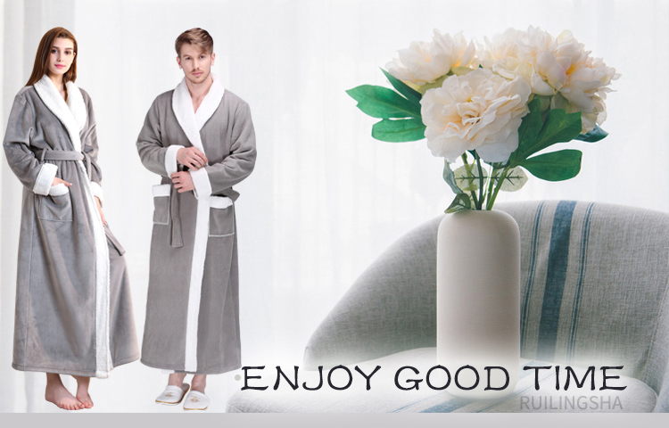 Men Winter Extra Long Thick Warm Flannel Fleece Bathrobe Mens Luxury Kimono Bath Robe Women Sexy Fur Robes Male Dressing Gown