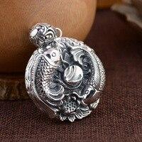 Empereur or bijoux ligne Thai argent lotus pendentif en gros S925 pur argent pendentif Annuel et surabondante médaillon