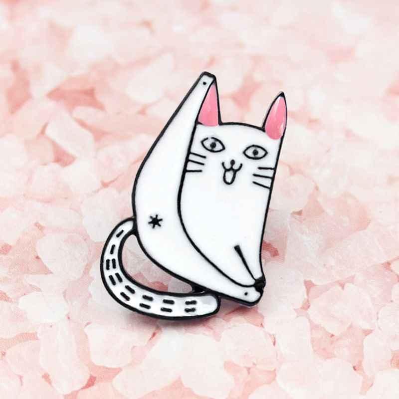 Кошка брошь котенок творческая личность белый Повседневный студенческий рюкзак одежда украшения подарки девушки Женщины платье Жан