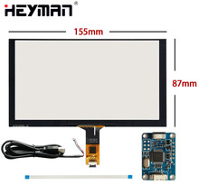 цена на 6.2''155mm*88mm Capacitive Touch Digitizer For Raspberry Pi tablet PC GPS navigation Touch screen panel Glass+USB Driver board