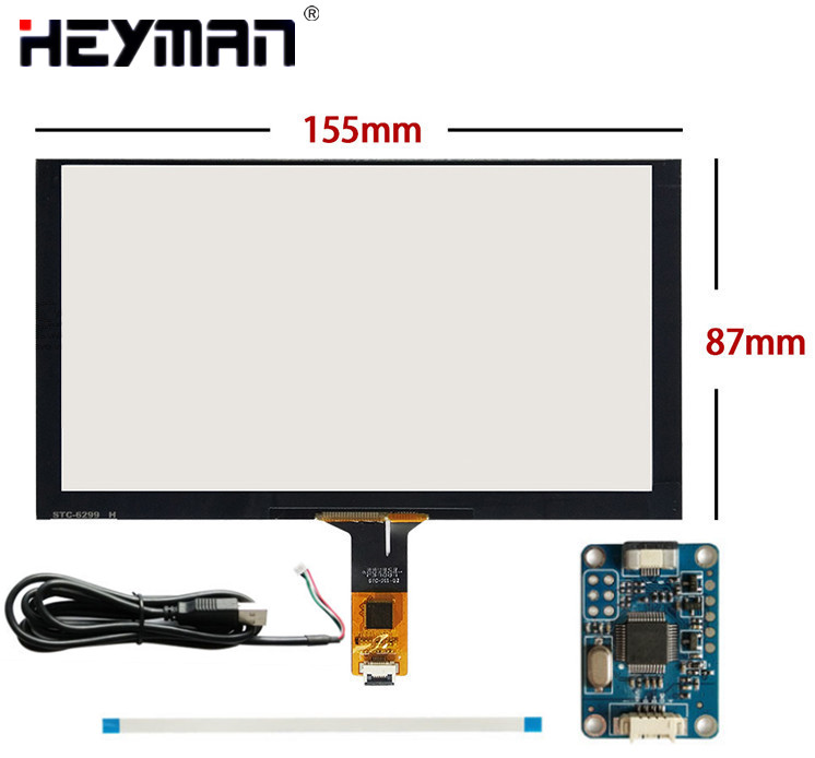 6.5''155mm*88mm Capacitive Touch Digitizer For Raspberry Pi tablet PC GPS navigation Touch screen panel Glass+USB Driver board 10 1inch for viewsonic viewpad 100 tablet pc capacitive touch screen glass digitizer panel