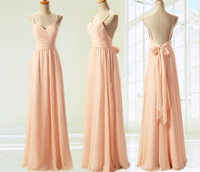 BC125 Latest Design High Quality Cheap Long robe demoiselle d'honneur Chiffon Coral Open Back Bridesmaid Dresses Big Size 2015