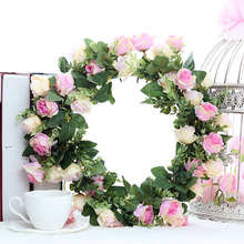 Silk Rose Artificial Flower Wreath Door Perfect Quality Garland Wedding Decoration Home Party Chair
