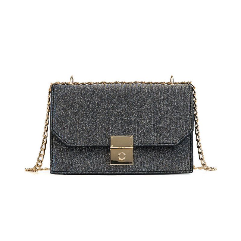 2018 Fashion Women Sequined Messenger Bag Quality Leather Womens Flap Bag Chain Strap Female Shoulder Bag Lay Crossbody Bags