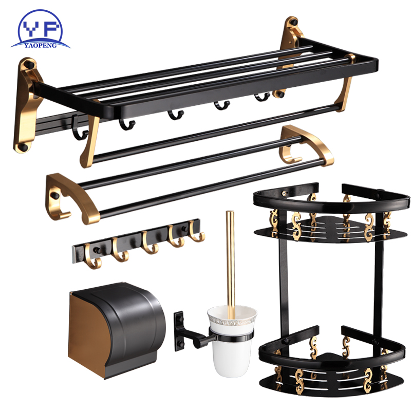 YAOPENG Bath Hardware Sets Space Aluminum Towels rack towle bar with hooks toilet brush and paper holders bathroom products