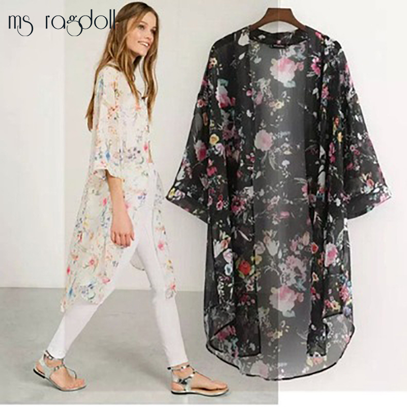 2017 New Arrivals Beach Cover up Floral Swimwear Ladies Pareo Cape Sun Bath Wear Dress Chiffon