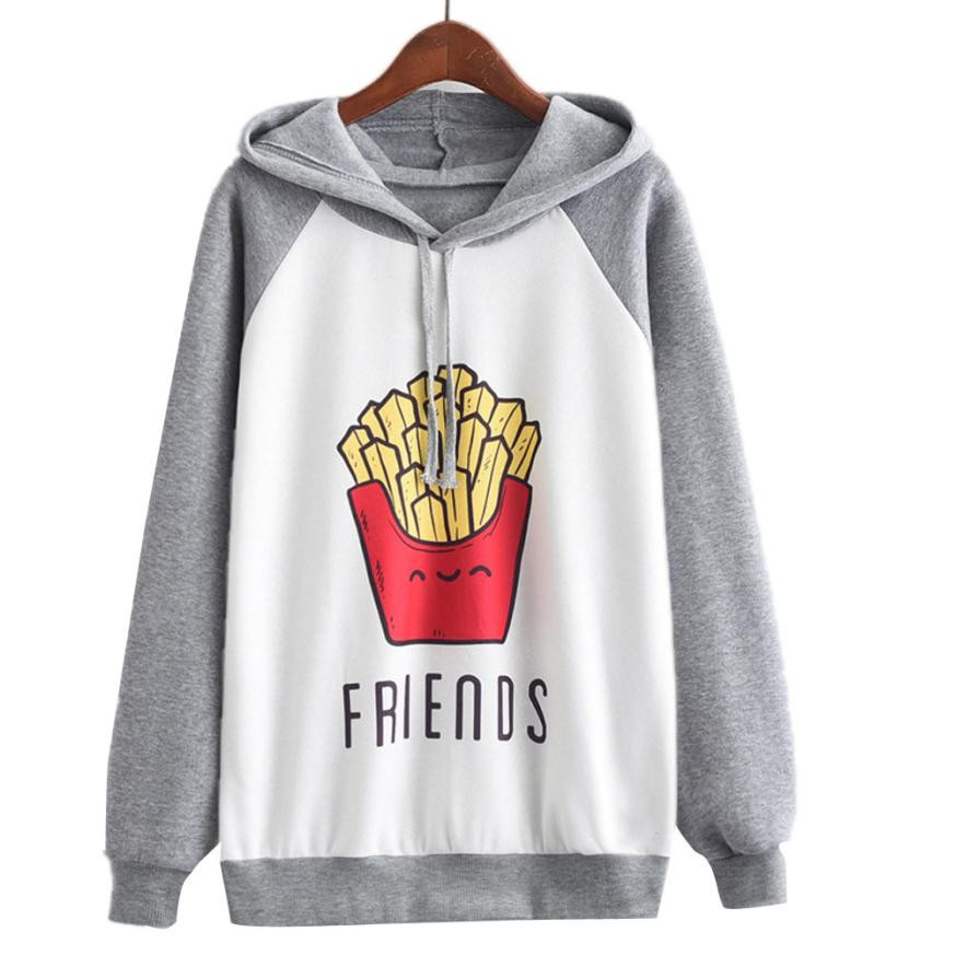 2019 Winter Autumn Women Sweatshirt Best Friends French Fries Printed Velvet Thicken Warm Kawaii Style Female Hoodies Tops Shirt Matching In Colour