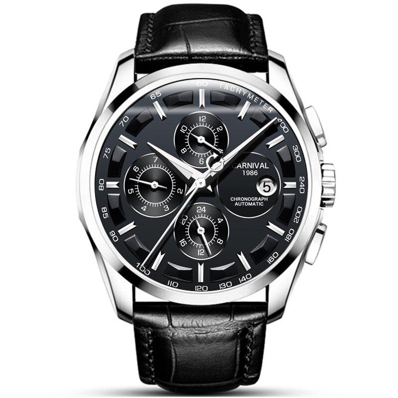 Carnival Wrist Watch for Men 2018 Automatic Self-Wind Week ,Complete Calendar,Months,Hours Waterproof Luxury Brand Mens Watches