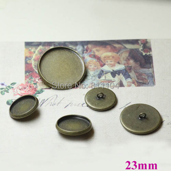 23mm Antique Bronze Plated Copper Blank Bases Round Bezel cups Cabochon Settings Caps Buttons Back Loop Blank Findings Wholesale