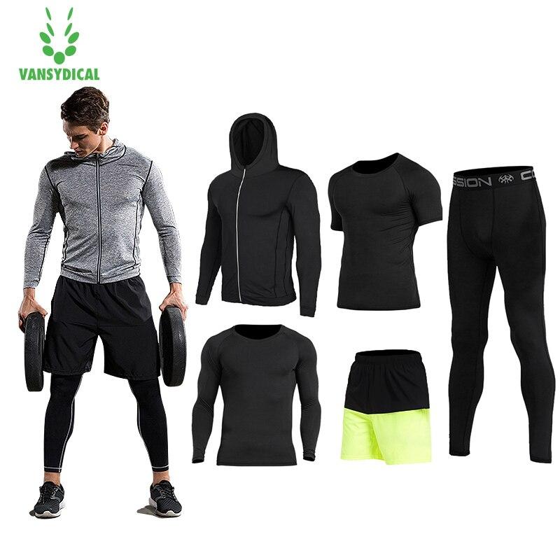 2018 Vansydical Hommes Gym Vêtements de Course Costumes 5 pcs Workout Sport Costumes de Basket-Ball Jersey Formation Survêtements Costume de Sport Pour Hommes