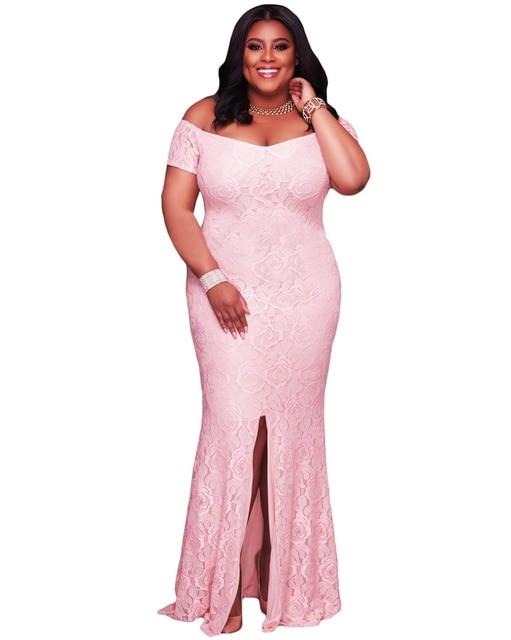 Mulheres da moda Plus Size Maxi Vestido Fora Do Ombro Vestido de Renda  Divisão Hem Voltar e3cc54620705