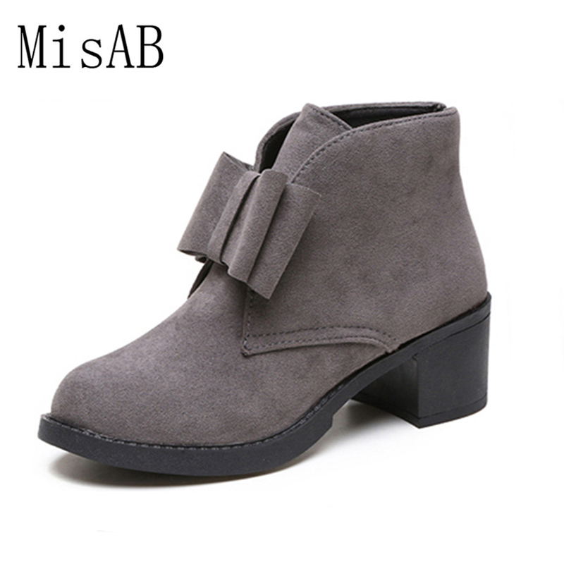 Fashion Ankle Boots Winter Autumn Bowtie Women Boots High Heels Platform Gift Women Boots Ladies Shoes
