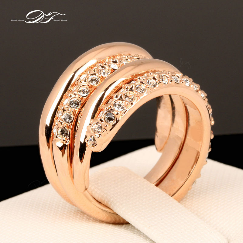 Cross Creepers Cubic Zirconia Punk Finger Rings Rose Gold Color Fashion Brand Crystal Jewellery For Women Wholesale DFR069