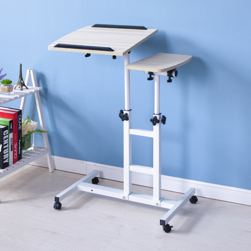 Simple Modern Double Pole Lifting Laptop Desk Free Mobile Computer Desk With Multi-function Storage Rack Adjustable Laptop Desk