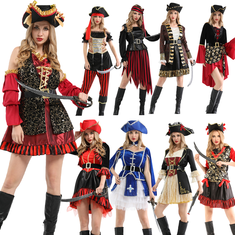 Girls Red Pirate Captain Caribbean Carnival Halloween Fancy Dress Costume Outfit