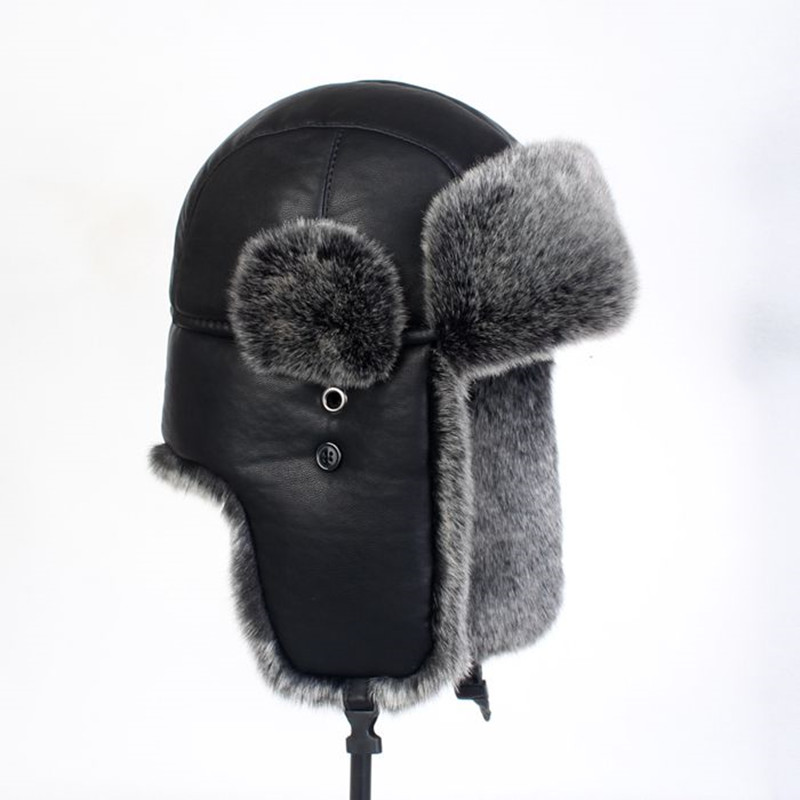 Thicken PU Leather Warm Lei Feng Cotton Cap Hat Outdoor Skiing Climbing Riding Motorcycle Windproof Thermal Protect Ear Earflaps