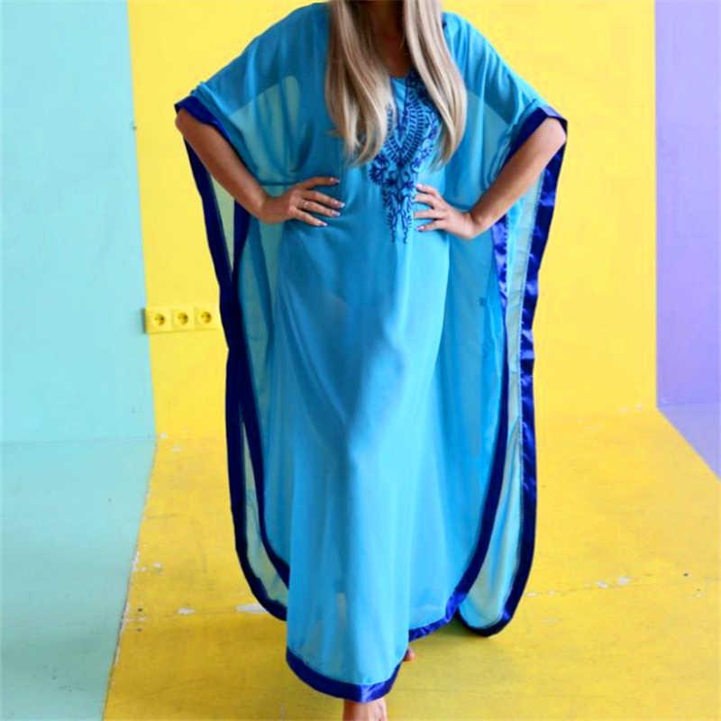2019 плюс размер синий вышитый Летний Пляжный шифоновый кафтан пляжная Женская Туника купальный костюм плащ купальная одежда накидка # Q746