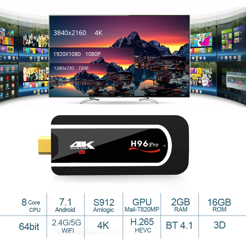 H96 Pro H2 4 K TV Stick 2 gb 16 gb Netflix Android TV Stick Dongle Octa Core Amlogic S912 2,4g 5g Wifi inteligente Android mini pc