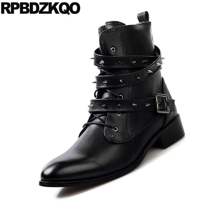 Shoes Stud Embellished Men Rivet Italian Vintage Motorcycle Boots Stylish Winter Fashion Ankle Metalic Black Fur Chunky Punk