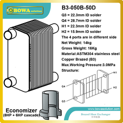 B3-050-50D is great choice  as intercooler between 8HP and 6HP refrigeration cycles to get -40~-90C low temperature