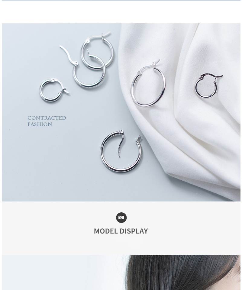 Round Hoop Earrings For Women Classic 925 Sterling Silver Ear Piercing Clip On Earring For Female Fashion Pendientes Aro Plata (5)