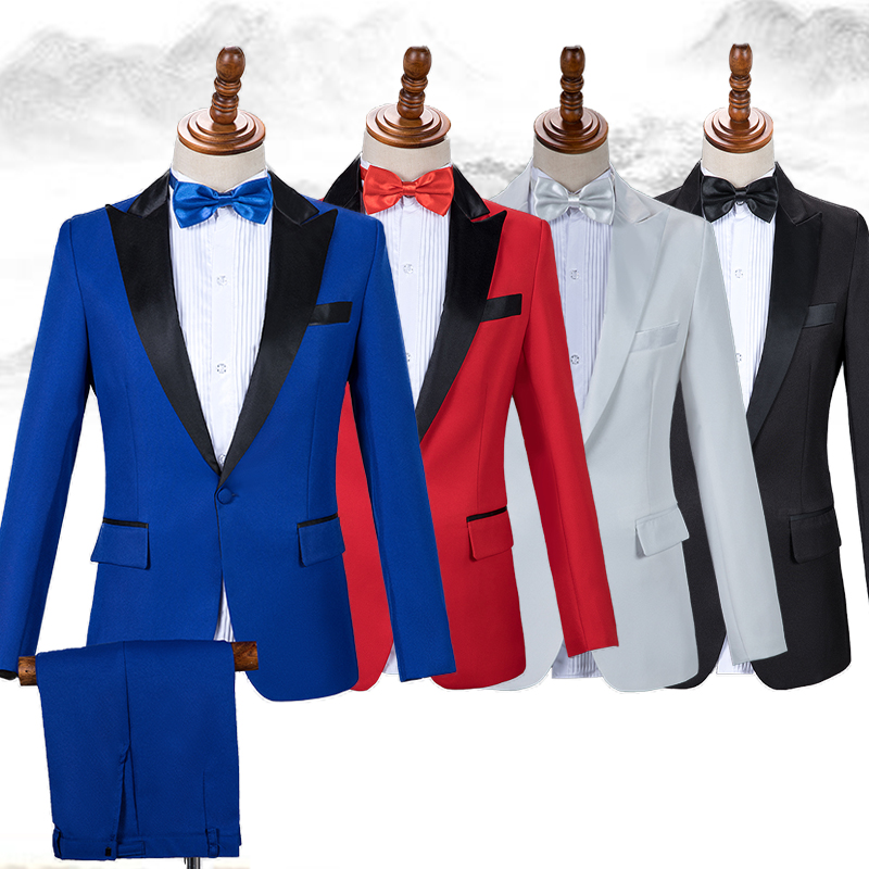 Men Jacket Suit Male Slim Solid Formal V-Collar Long Sleeve Coat Clothes Adults Night Party Club Birthday Costume Singer DT753