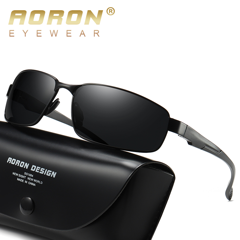 2019 AORON New Mens Polarized Sunglasses for Driving,Male Classic Square Sports Sun Glasses UV400(China)