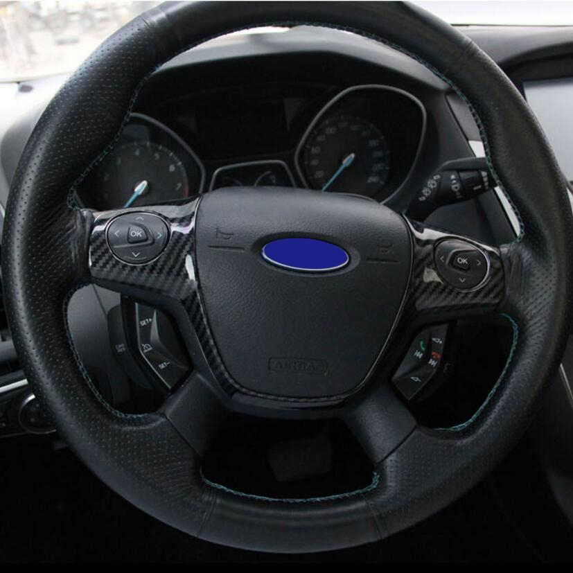 รถ 1pcs ABS คาร์บอนไฟเบอร์พวงมาลัยตกแต่งสำหรับ Ford FOCUS 3 MK3(2012-2017) FORD KUGA 2013-2015
