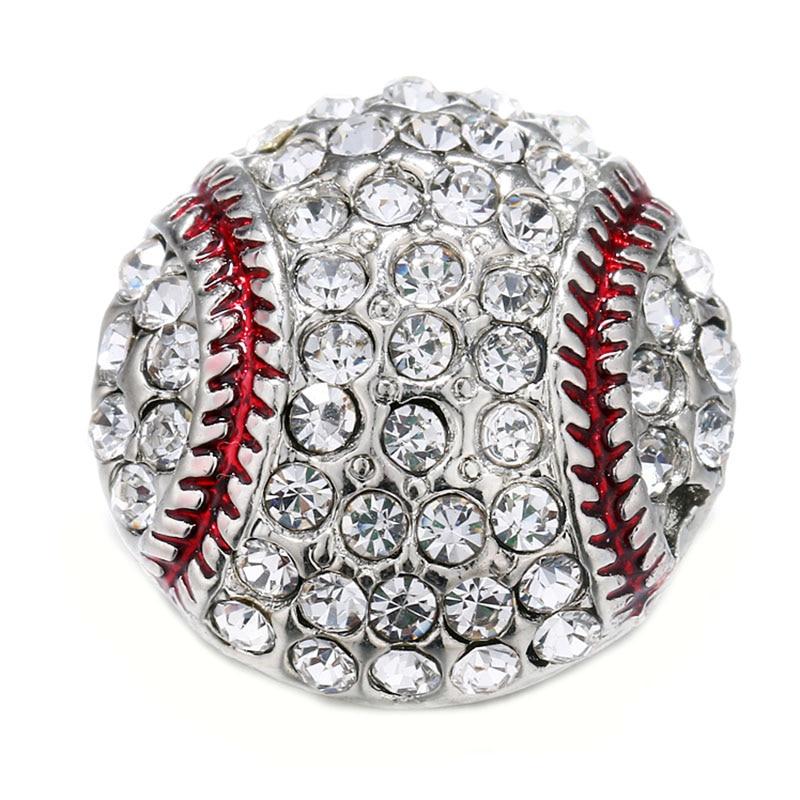 10 Teile/los Schönheit Kristall Baseball Metall Druckknopf Fit 18mm 20mm Snap Armbänder Armreifen Frauen Snaps Schmuck