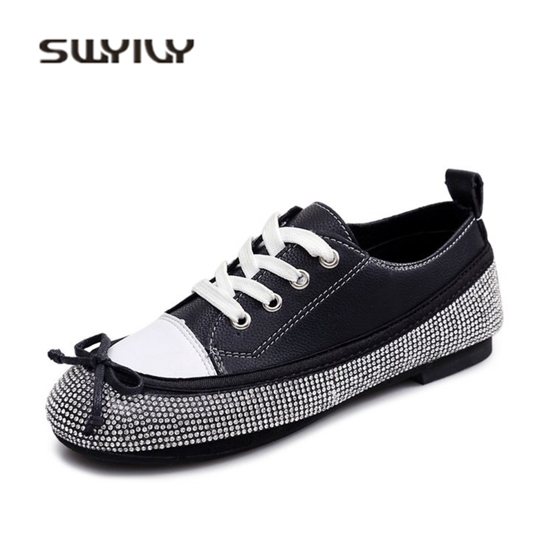 SWYIYV Women s Casual Shoes Sneakers Rhinestone Bow 2018 Spring Flat Lady Canvas  Shoes Brand Design PU Leather Woman Sneakers 40-in Women s Vulcanize Shoes  ... 0bb23afe3b4a