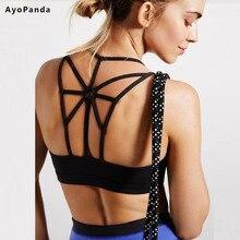 AyoPanda 2016 New Womens Sports Bra Options Padded Running Fitness Bra Push Up Sport Underwear For Ladies Strappy Back Yoga Top