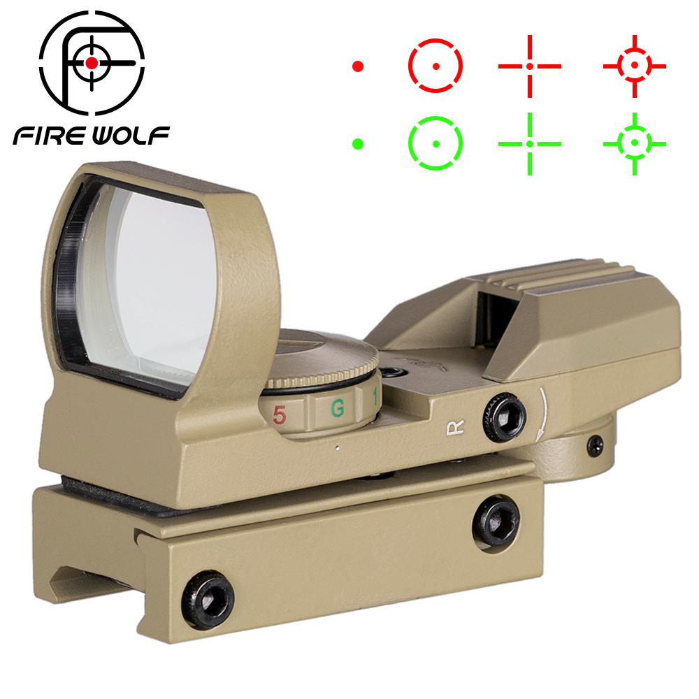Holographic Scope Reflex Sights Green Red Dot Sight With 4 Reticle Fit For 20mm Rail Gun TAN Color
