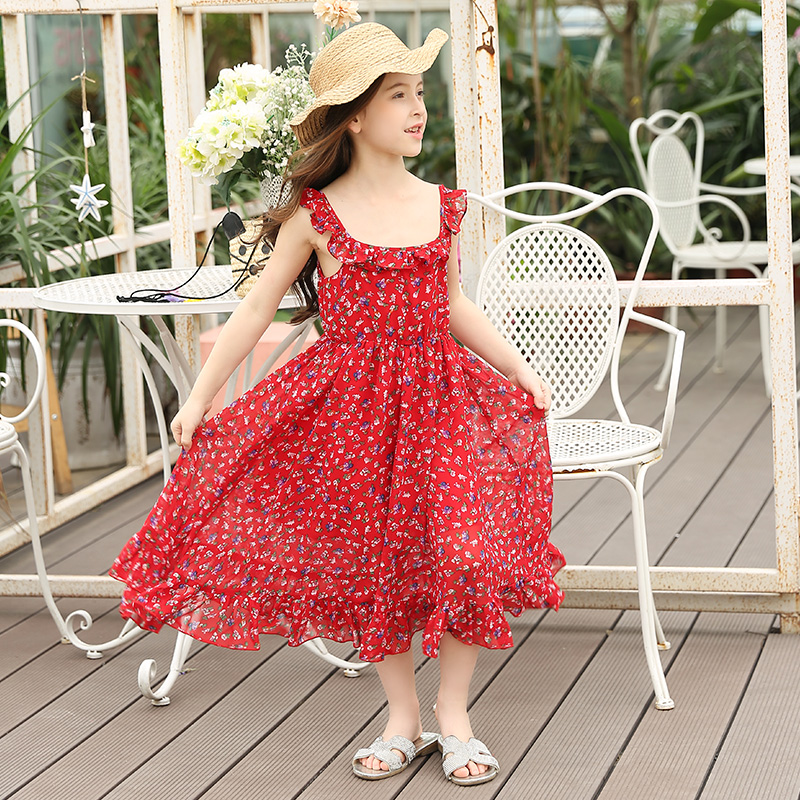 2017 Flower Girl Dresses Summer Girl Clothes Baby Girl Vest Dress Girl Clothes Backless Party Dress Children Chiffon Vestidos