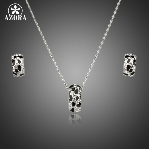 AZORA Brand Design White Gold Color Leopard with Rhinestone Earrings and Necklace Jewelry Sets TG0081
