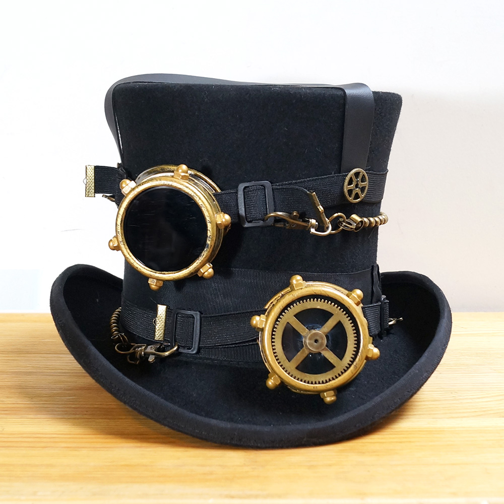 Steampunk Hat Vintage Wool Steam Punk Mask Daft Yellow Glass Avatar Eye Eyeball Sterling Silver Wire Wrapped Ring Any Metal Goggles Glasses