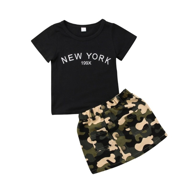 b9a5b7f2763 Baby Girls Clothes Sets Black New York Tops Tee Camouflage Skirt 2pcs Bebe  Kids Clothing Suits