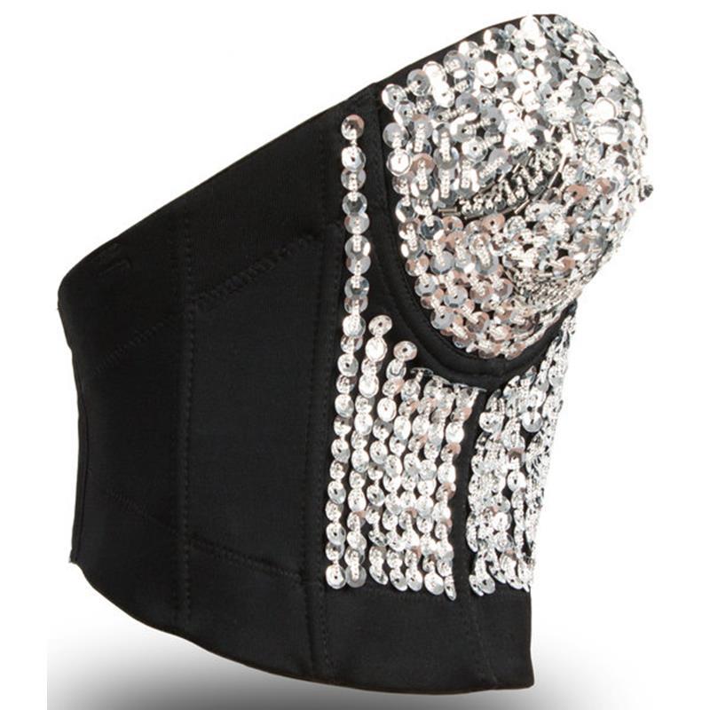 bc2be8b2fe5b3 Hot Sale Brand Fashion Girl Women Spikes Push Up Strapless Bra Top Silver  Sequins Sexy Bralet Brassiere Underwear Clubwear-in Bras from Underwear ...