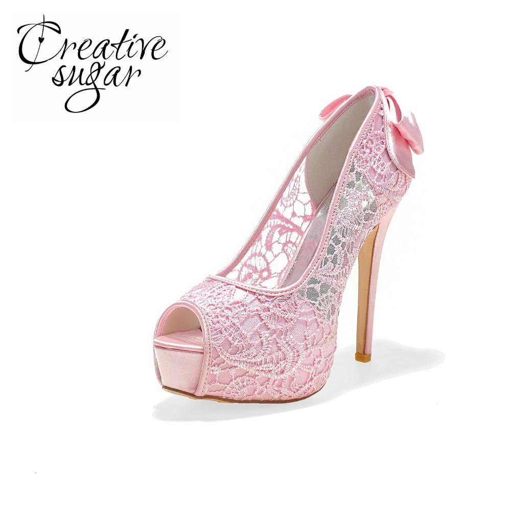 где купить Creativesugar Sexy see through lace perspective high heel platform open toe shoes summer bow pumps pink black white ivory по лучшей цене