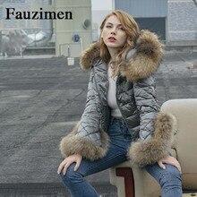 Best продажи доставка мех енота модная одежда Для женщин зимняя женская Топы; пальто London Стиль пуховик Для женщин с капюшоном