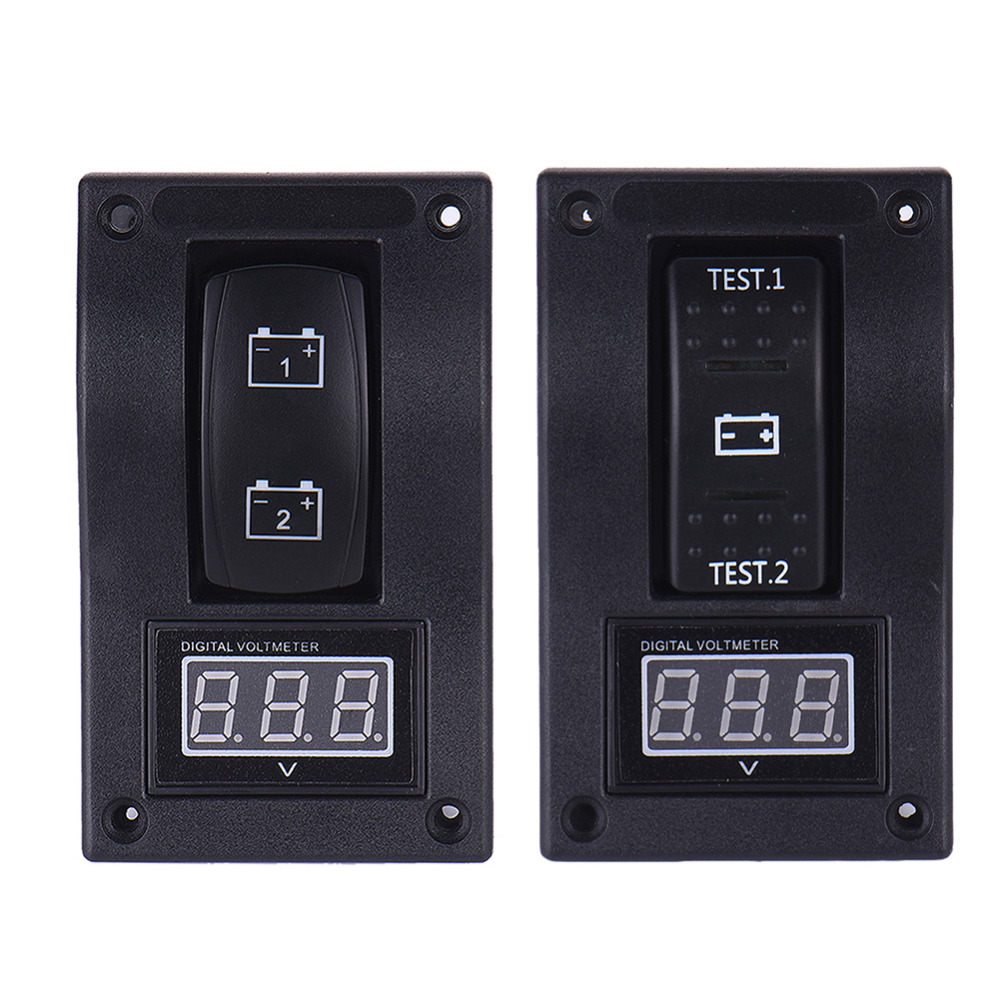 12V font b RV b font Marine Boat Voltmeter LED Dual Battery Test Panel Rocker Switch