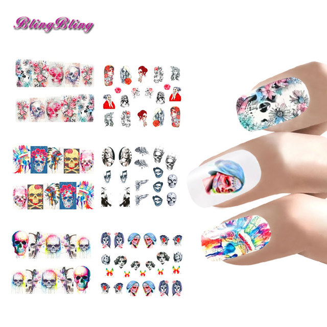 Ondeugende Halloween Nail Art Decoratie Nail Sticker Set Water
