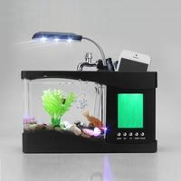 1.5L Aquarium USB Mini Aquarium Fish Tank Aquarium LED Lamp Light LCD Display Screen Clock Fish Tank Aquarium Accessories