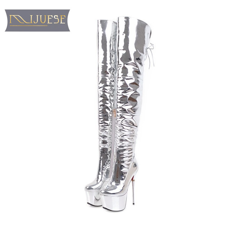 MLJUESE 2018 kobiety powyżej buty do kolan zasznurować srebrny kolor platformy cienkie obcasy moda klub nocny wysokie buty rozmiar 33  43 w Buty za kolano od Buty na  Grupa 1