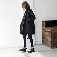 Two ways of wearing one side Camouflage another side solid black pockets loose casual medium long trench black side pockets long sleeves outerwear