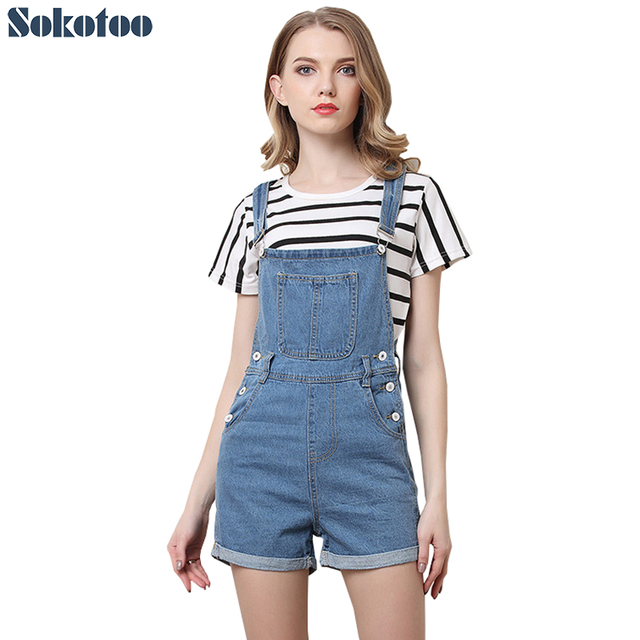 Sokotoo Women\'s plus size blue denim overalls shorts Summer pocket ...