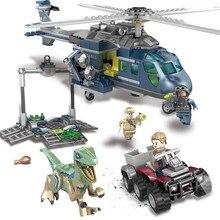 433PCS Jurassic World Park Blue's Helicopter Pursuit Building Blocks Kit Movie Model Classic Bricks Toys in stock 433pcs lepin 07046 genuine movie series joker s lowrider