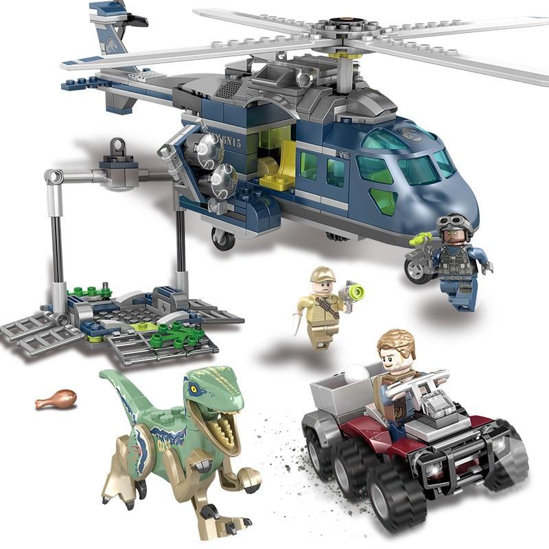 433PCS Jurassic World Park Blues Helicopter Pursuit Building Blocks Kit Movie Model Classic Bricks Toys
