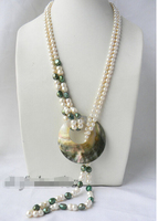 Prett Lovely Women's Wedding FREE shipping>>>>2Strands 30'' White Round Green Baroque Freshwater Pearl Shell Pendant Nacklace